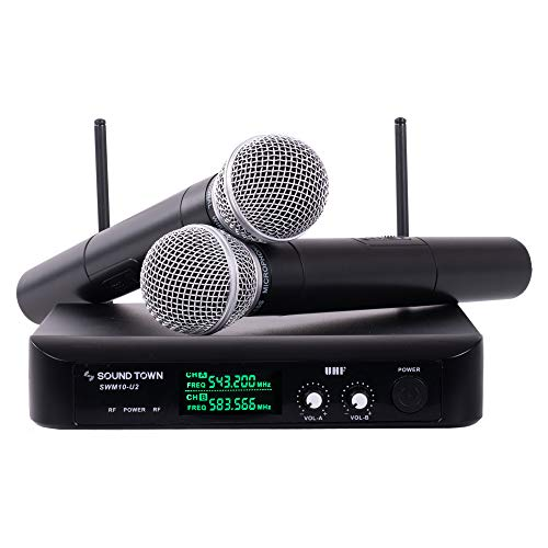 - Sound Town SWM10-U2HH Professional Dual-Channel UHF Wireless Microphone System with 2 Handheld Mics, for Church, Business Meeting, Outdoor Wedding and Karaoke
