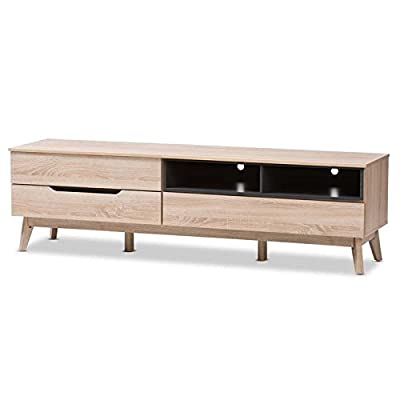 Two-Tone TV Stand in Oak and Gray - Mid-century modern style Warranty: 30 day limited Made from particle board, MDF with pu paper - tv-stands, living-room-furniture, living-room - 412bgE1BxrL. SS400  -