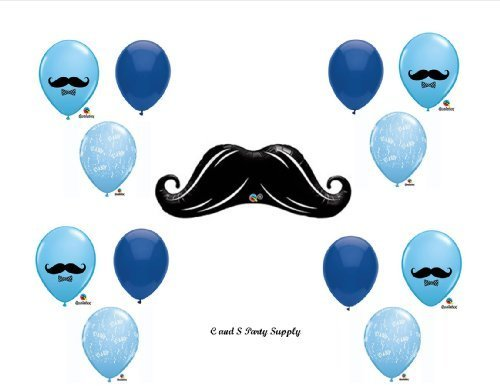 LITTLE MAN MUSTACHE BABY SHOWER Balloons Decorations Supplies....13 pieces! by Anagram for $<!--$10.98-->