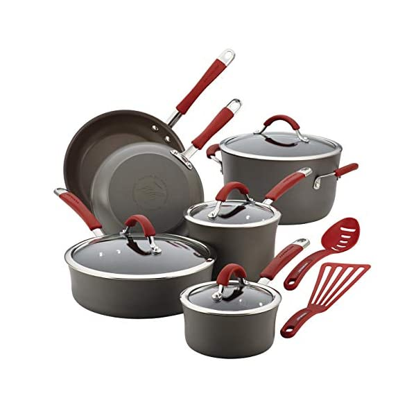 Rachael Ray Cucina Hard Anodized Nonstick Cookware Pots and Pans Set, 12 Piece, Gray with Red Handles 1