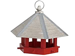 Wood Bird Feeder with Metal and Wood Roof in Red (Red)