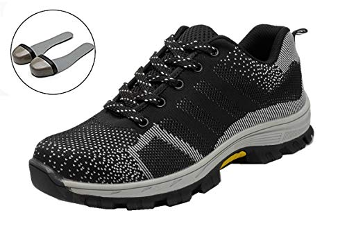 Beeagle Mens Womens Unisex Steel Toe Work Shoes Industrial Construction Puncture Proof Safety Shoes Gray 38