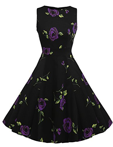 ACEVOG Party 1950's Vintage Garden Rose Floral Picnic Dress Spring Sleeveless Women's Purple qqUEaCH