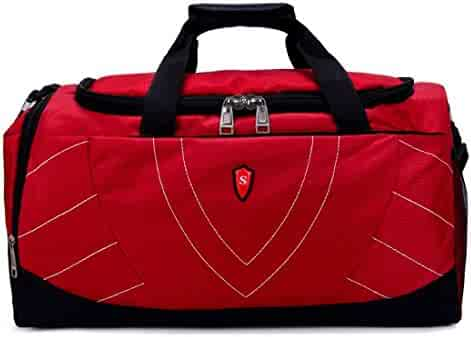 02d1a05a1db059 Souliyan Sports Gym Bag Duffels Backpacks Travel Weekender Bag with Shoe  Compartment (Color : Red
