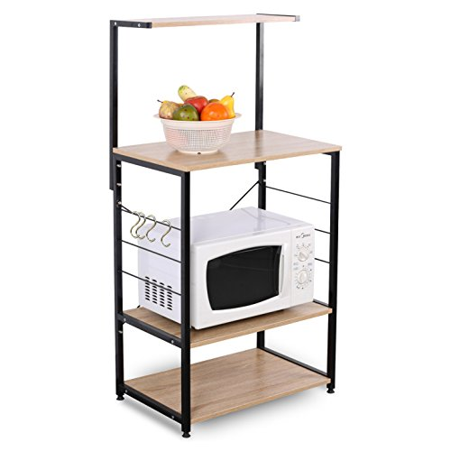 WOLTU 4-Tiers Shelf Kitchen Storage Display Rack Wooden and Metal Standing Shelving Unit for Home Bathroom Use with 4 Hooks by WOLTU