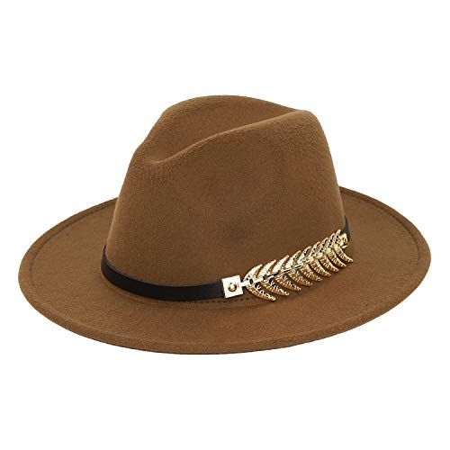 5a7053494 Women Fedora Hat Simple Metal Belt Buckle Panama Hat Vintage Jazz ...