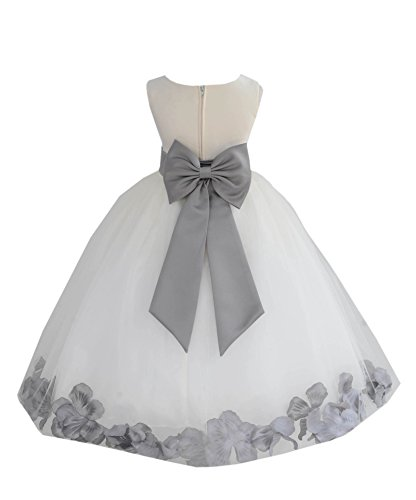 4 Dress Gown Bridal - Ivory Tulle Rose Floral Petals Toddler Flower Girl Dresses Bridal Gown 302T 4