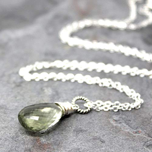 - Green Amethyst Necklace Sterling Silver Prasiolite Pendant Mint 18 Inches