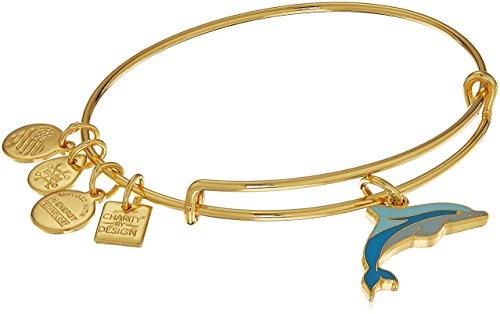 Alex and Ani Charity By Design, Dolphin EWB, Shiny Gold Bangle Bracelet (Dolphins Bracelet Charm Gold)