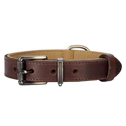 - Pettom Soft Genuine Leather Dog Collar,Heavy Duty Durable Military Grade Dog Training Collars-Walking for Medium Large Dogs (M Length:20.5in, Brown)