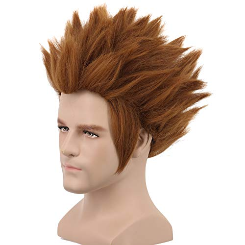 Yuehong Halloween Wig Spiky Brown Wig Cosplay Wigs for Men Costume -