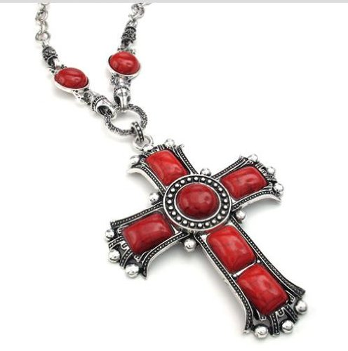 Jonline24h Mens Womens Vintage Large Gothic Cross Pendant Necklace & Chain, Red Green Silver