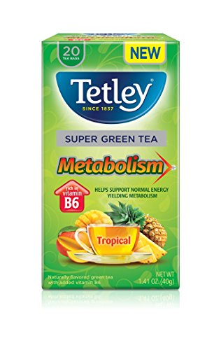 Tetley Super Green Tea, Metabolism, Tropical, 20 Count (Pack of 6) (Green Tea Super)