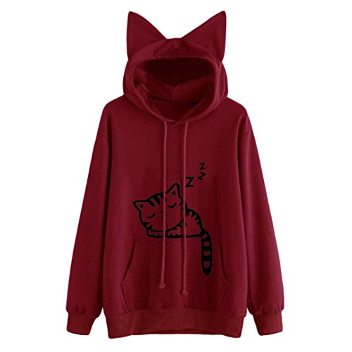 Kawaii Mujer Red orecchio Cat Pink Felpe Wine modello Inverno felpe Cappuccio BTS MAOSHAN con Hooed Manica Donne con Lunga cappuccio Felpa qBnTgXR
