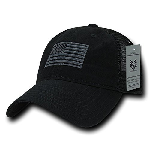 (Rapid Dominance Soft Fit American Flag Embroidered Cotton Trucker Mesh Back Cap - Black)
