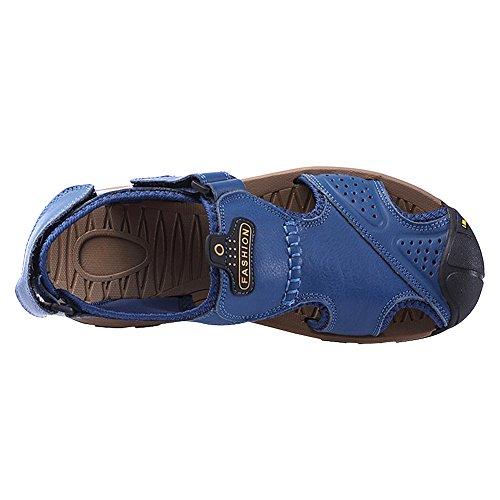 Haken Schleife Geschlossene rismart Sandalen Stilvolle und Zehe Blau Im Slingback Herren Freien Sommer xnFfWqTZ