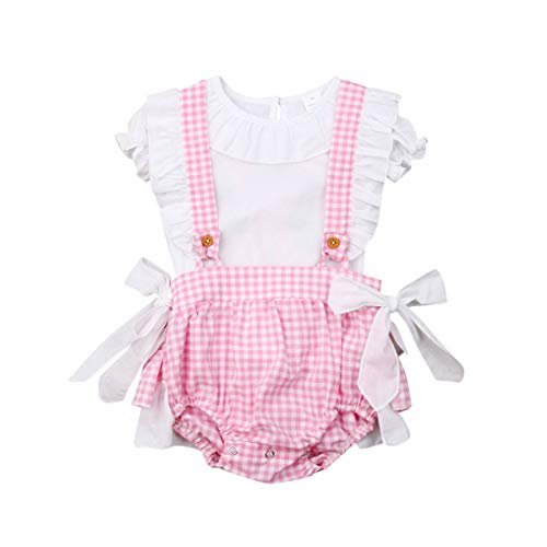 Newborn Baby Girl Ruffle T Shirt Puff Sleeve Top Plaid Suspender Shorts Bows Princess Clothes Oufits (White t Shirt & Pink Plaid Shorts, 6-12 Months) ()