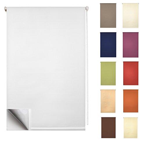 GARDUNA FIX Thermo-Rollo # creme 80 x 210cm für TÜREN # Smartfix - Klemmfix - ohne bohren - viele Farben & Größen- komplett verdunkelnd / BLACKOUT