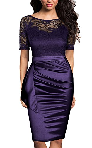 Mmondschein Women's Vintage Ruffles Short Sleeve Business Pencil Cocktail Dress (L, Purple)