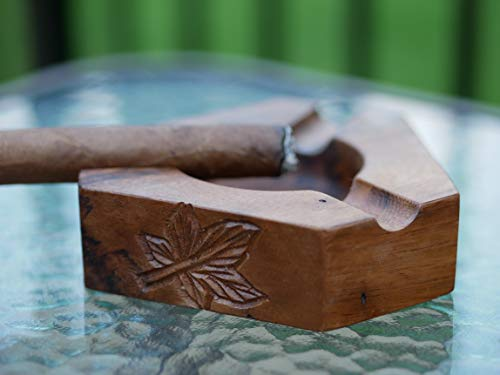 Wooden Cigar Ashtrays– The Mayan Line- 4 Styles to Choose from- Handmade Carved Wood Design Made in Central America by Local Artisan Craftsman- Great Cigar Accessories Gift for Men- Three Slot by Briar and Oak (Image #6)