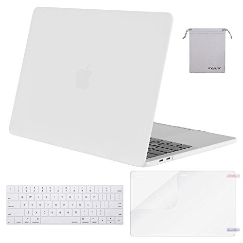 MOSISO MacBook Pro 15 Case 2018 2017 2016 Release A1990/A1707 Touch Bar Models, Plastic Hard Shell & Keyboard Cover & Screen Protector & Storage Bag Compatible Newest Mac Pro 15 Inch, White