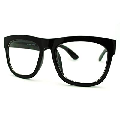 Black Oversized Square Glasses Thick Horn Rim Clear Lens Frame