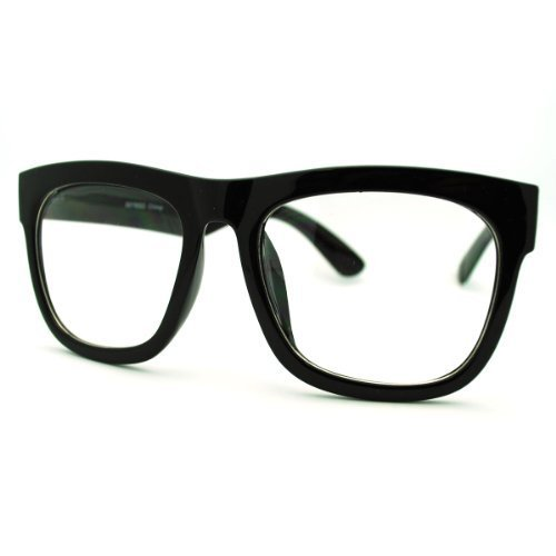 Black Oversized Square Glasses Thick Horn Rim Clear Lens - Thick Black Glasses