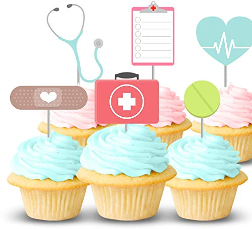 Nurse party cupcake topper set of 12 - Medical RN themed cake picks for birthday, graduation - Handmade in the USA ()