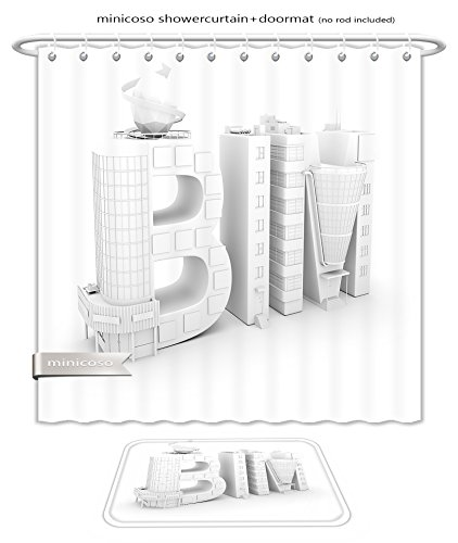 Minicoso Bath Two Piece Suit: Shower Curtains and Bath Rugs Bim In The Shopping Center Over White Background D Illustration Shower Curtain and Doormat - New Orleans Center Shopping