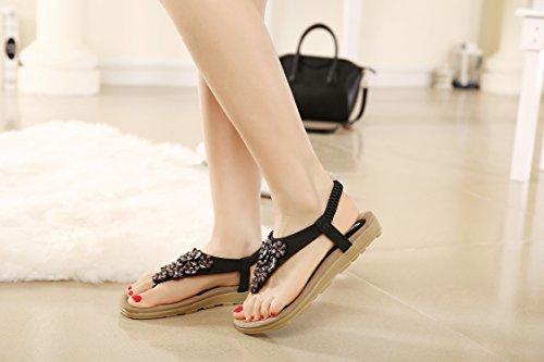 DQQ Femme Fleur Perles T Sangle String Sandale - Noir - 1,