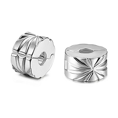 JewelrieShop 2pcs European Beads Clip Lock Stopper Charm Beads Spacer for Bracelet, Openable