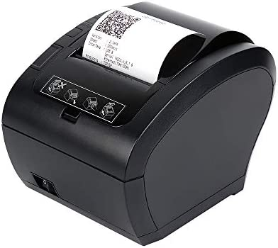 80MM Thermal Printer USB Ethernet LAN Receipt Printer Impresora térmica, MUNBYN Black POS Kitchen Printer with Auto Cutter Support Cash Drawer ESC/POS ...