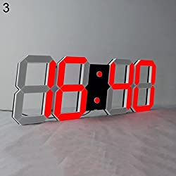 Braceus Large LED Digital Wall Clock Multi-Functional Countdown Remote Control Clock (Black + Red)