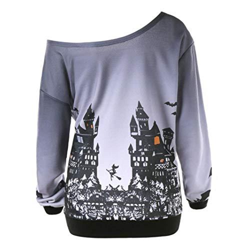 iYBUIA Halloween Party, Women Skew Neck Pumpkin Print Sweatshirt Jumper Pullover Tops(Gray,L)