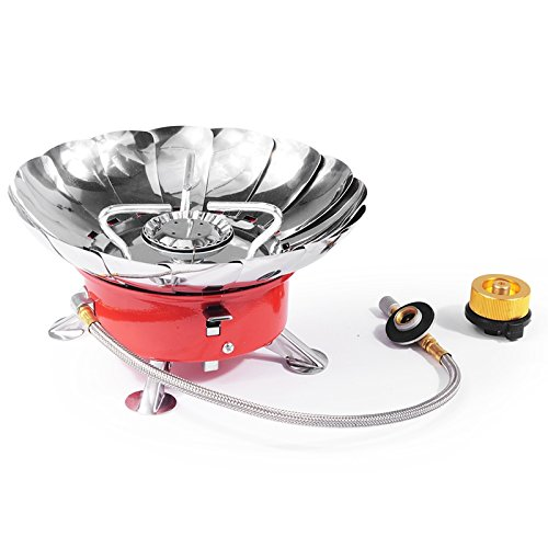 OWIKAR Camping Windproof Gas Stove With Gas Pipe Lightweight Portable Collapsible Backpacking Utensil Camp Burner for Camping Hiking Hunting Survival Outdoor Activities