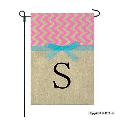 Home Garden Flags Monogram - Chevron Burlap and Bows - 12