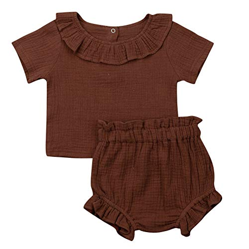 Baby Girls Solid Color Cotton Linen Short Sleeve Ruffle T-Shirt Top and Shorts Outfit Set (18-24M, Coffee)