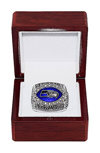 SEATTLE SEAHAWKS (Shaun Alexander) 2005 NFC CHAMPIONS (Super Bowl XL) Rare & Collectible High-Quality Replica NFL Football Silver Championship Ring with Cherrywood Display Box (Championship Seahawks Football)