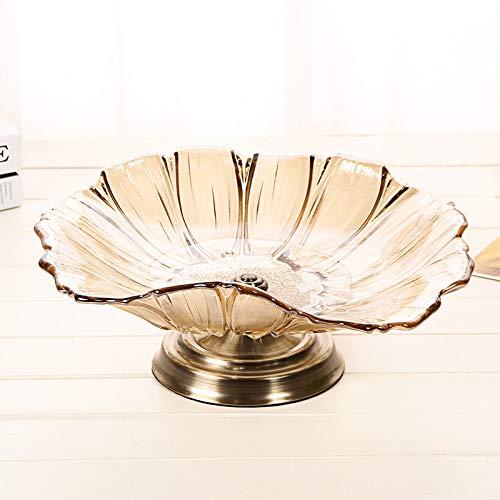 SOWHH Plato de frutas Pelea de frutas Decoración de vidrio plato ...