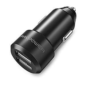 USB Car Charger RAVPower 24W 4.8A Metal Dual Car Adapter for S9 / S8 / S7 / S6 / Edge / Plus, Note 5 / 4 , LG, Nexus, HTC with iSmart 2.0 Tech - Black
