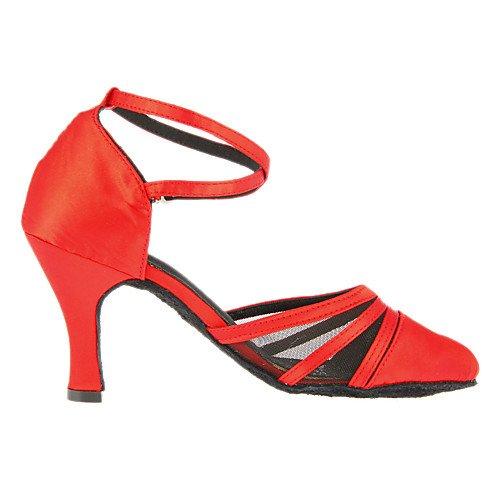 Customized Modern Women's Heel T Satin Dance Red Red Shoes T Q wq4xXTn0
