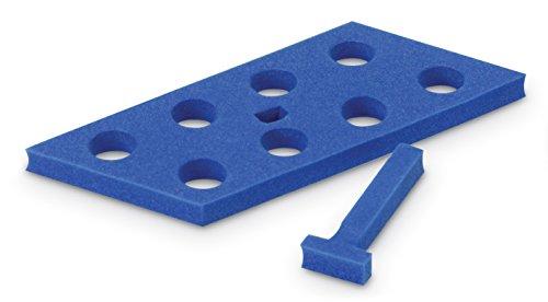 Heathrow Scientific HD2165B Polypropylene Parallelogram Floating Foam Tube Rack, 8 Tubes, Blue (Pack of 5)