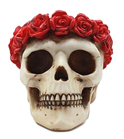 Atlantic Collectibles Day of The Dead Red Rose Laurel Flower Wreath Sugar Skull Figurine Decor - Skull Head Figurine