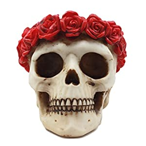 "Atlantic Collectibles Day of The Dead Red Rose Laurel Flower Wreath Sugar Skull Figurine Decor 4.5""L 33"