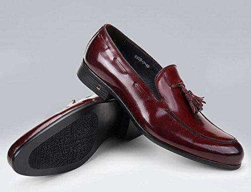 Happyshop (tm) Mens Läder Tofs Oxfords Spetsig Tå Derbyn Slip-on Affärer Skor Vinröd