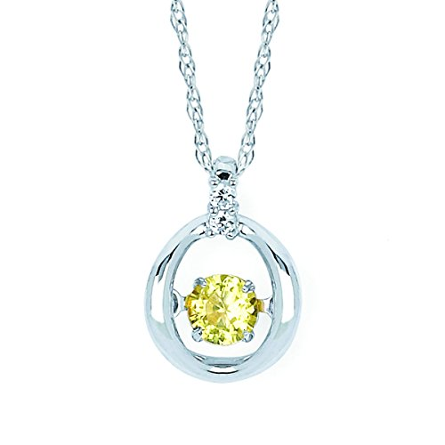 Brilliance in Motion 14K White Gold Dancing Yellow & White Diamond Dainty Circle Pendant Necklace, 18