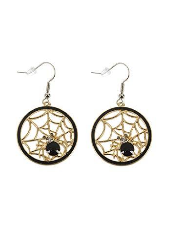 G Ganz Halloween Earrings Sparkle Spider Web (Gold) -