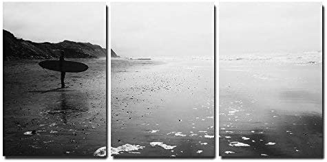 a Man with Surf Board Standing at Beach in Black and White x3 Panels