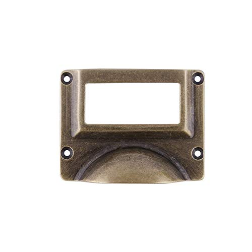 Zhao Xiemao Vintage Metal Door Handle Heavy Duty Solid Brass Material Large Label Frame Card Holder Cup Pull Handles for Filing Cabinet File Cabinets Archive Room Museum Library, Pack of 5pcs ()