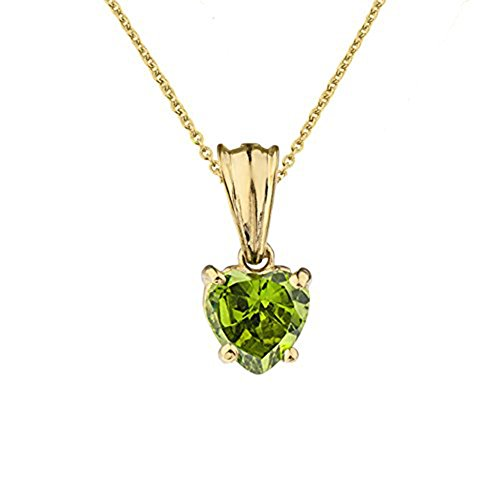 Dainty 10k Yellow Gold August Birthstone Heart-Shaped Pendant Necklace, 16